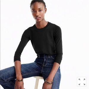 •J. Crew• Tippi Crew Sweater Black Merino Wool